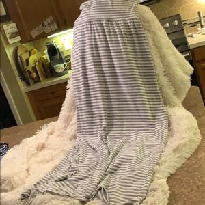 Gray and white striped maxi skirt